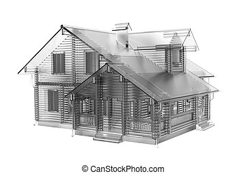 House 3D rendered white transparent