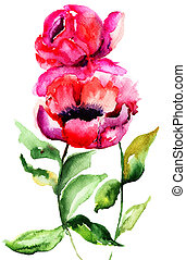 Beautiful Peony flowers, Watercolor painting