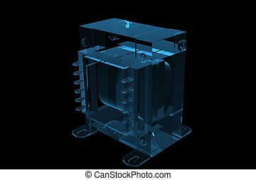 Small transformer 3D rendered blue transparent