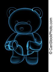 Teddy bear 3D rendered blue transparent