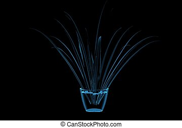 Flower 3D xray blue transparent