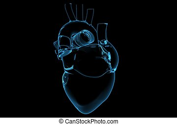 Human heart (3D xray blue transparent)