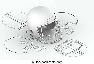 Helmet charts with 3d model on top