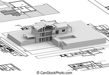 House plan with 3d model on top