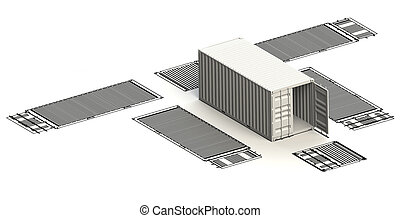 Transportation container charts with 3d model on top