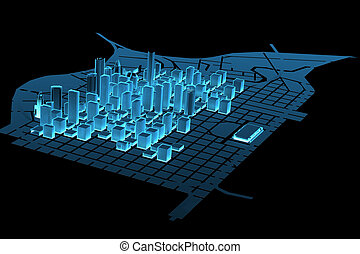 Big City (3D xray blue transparent)