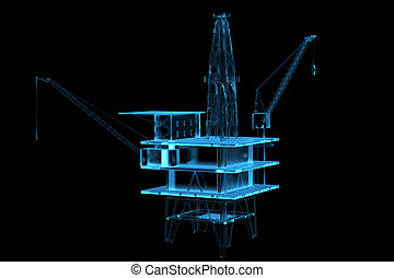 Oil rig 3D xray blue transparent