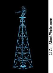 Windmill (3D xray blue transparent)