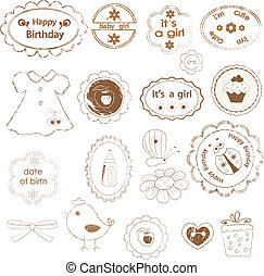 Set of baby girl stamps