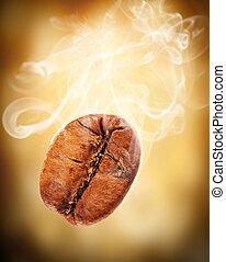 voando, café, feijão, fumaça