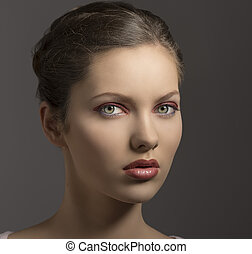 sensual girl with red make-up