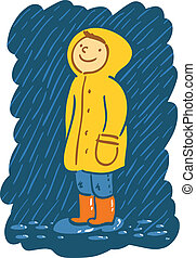 Smiling kid in raincoat stands in the rain