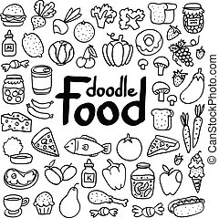Doodle food set of 50 various products, fruits, vegetables...