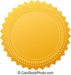 Blank gold seal, vector clip art