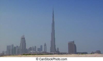 Dubai skyline pan burj emirates dun