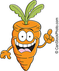 Cartoon carrot with an idea - Cartoon illustration of a...