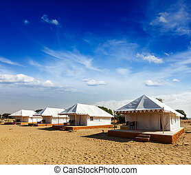 Tent camp in desert Jaisalmer, Rajasthan, India - Tourist...