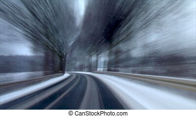 winter country roads time lapse