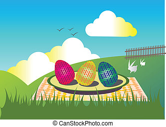 Easter eggs with rabbits