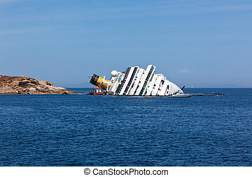 GIGLIO, ITALY - APRIL 28, 2012: Costa Concordia Cruise Ship...