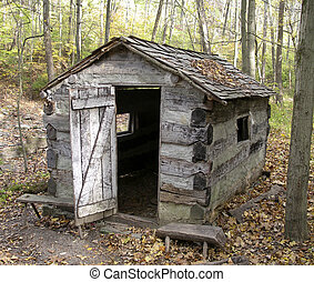 Old Pioneer Shack - Old Shack by the Little Miami River in...