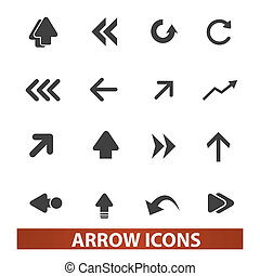 arrow icons, signs set, vector for web and mobile design -...