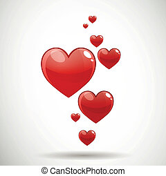 Vector Red Hearts - Vector Illustration of Decorative Red...