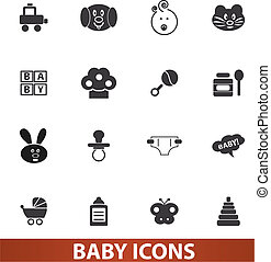 baby icons set, vector illustration for web and design