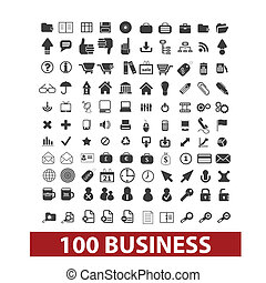 100 business and office icons, signs set, vector