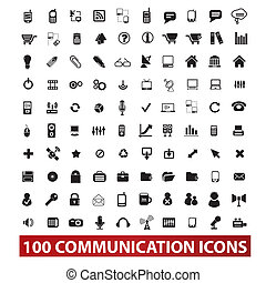 100 communication and connection icons set, vector