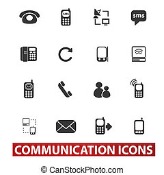 20 communication signs, icons set, vector