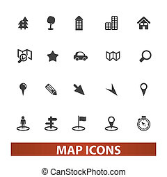 map & navigation icons set, vector