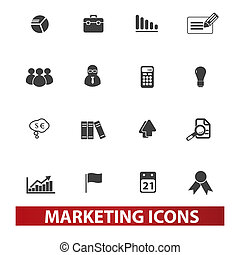 marketing & market icons set, vector