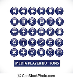 media player blue glossy buttons set, vector