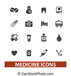 medicine & health icons set, vector