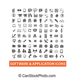 software & application icons set, vector