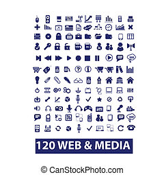 120 media and web icons, vector set - 120 media web icons,...