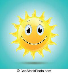 vector, sonriente, sol