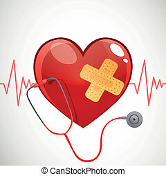 Vector Background with Heart and Stethoscope - Vector...