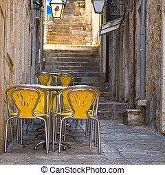 Al aire libre, restaurante, Dubrovnik, croacia