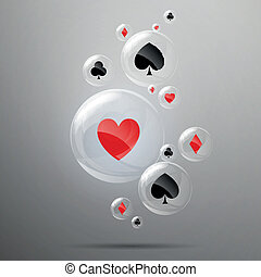 Vector Background with Playing Card Suits - Vector...