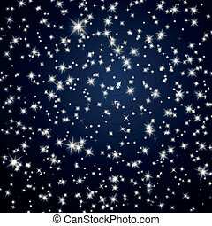 Vector Background with Night Sky Stars - Vector Illustration...