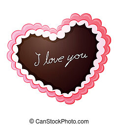 Vector Gingerbread Love Heart - Vector Illustration of a...