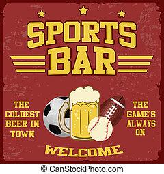 Sport bar poster - Sport bar vintage grunge poster, vector...
