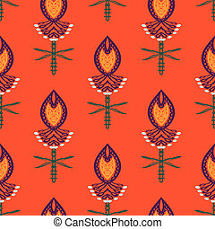 Pattern with bold stylized Indian motifs - Floral seamless...