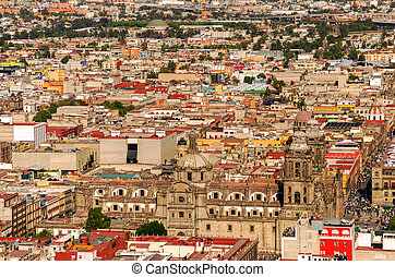 Aerial View of Mexico City Cathedral - Aerial view of the...
