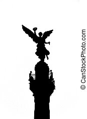 Angel of Independence Silhouette - A black and white...