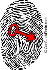 Security concept with fingerprint and key