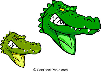 Green wild alligator in cartoon style for sports mascot...
