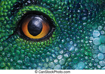 The eye has it - A close up of an eye in a dinosaur replica